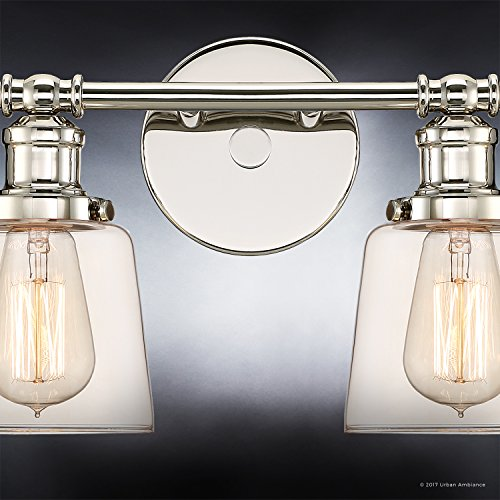 Luxury Industrial Chic Bathroom Vanity Light, Large Size: 9''H x 31.5''W, with Modern Style Elements, Nostalgic Design, Polished Nickel Finish and Light Champagne Glass, UQL2682 by Urban Ambiance by Urban Ambiance (Image #5)