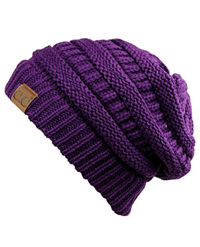C.C Trendy Warm Chunky Soft Stretch Cable Knit Beanie Skully, Deep Purple,One Size]()