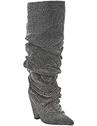 Embellished Rhinestone Crystal Covered Knee High Slouch Boot/Fall Winter Most Wanted Shoe Boot