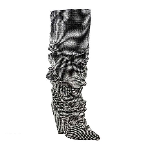 Embellished Rhinestone Crystal Covered Knee High Slouch Boot/Fall Winter Most Wanted Shoe Boot (11, (Designer Womens Designer Shoe)