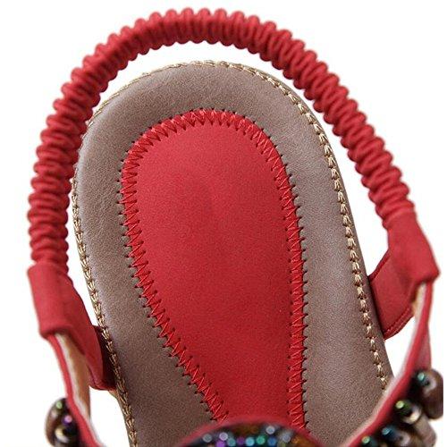 CN42 Tamaño 8 de UK7 Color Estilo Heel XIAOLIN Student Flat Flat 5 04 Bottom Mujeres Rhinestone Sandalias Tamaño EU41 Gran Étnico Mujeres Toe Clip 03 wBOZgqB