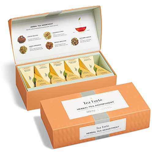 Tea Forté Petite Presentation Box Sampler with 10 Handcrafted Pyramid Tea Infusers - Herbal Tea Assortment - Fruit Harvest Collection