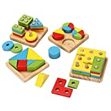 Hodleys Wooden Educational Shape Color Recognition Geometric Board Block Stack Sort Chunky Puzzle Toys, Birthday Gift Toy for Age 1 To 6 Years Old and Up Kid Children Baby Toddler Boy Girl (Toy Set B)