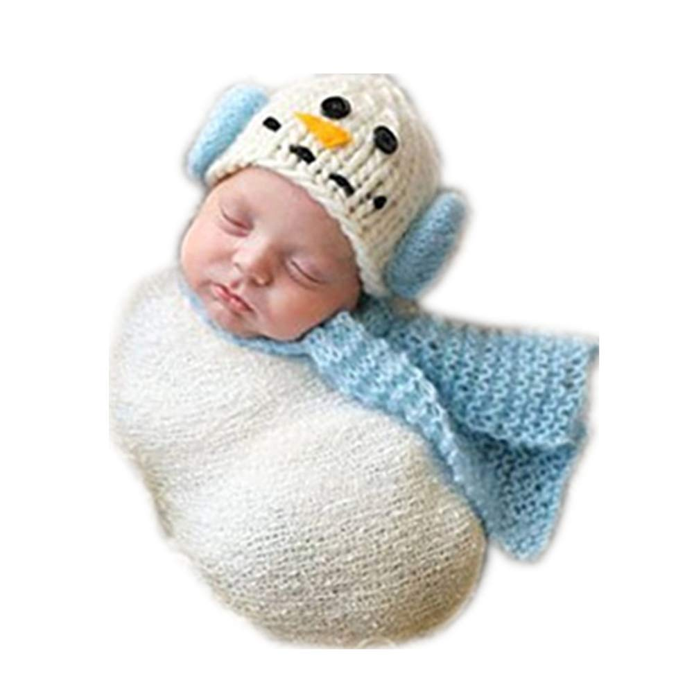 925f96c981531 Newborn Monthly Baby Photo Props Outfits Crochet Knitted Snowman Hat Scarf  Blanket for Boy Girls Photography Shoot