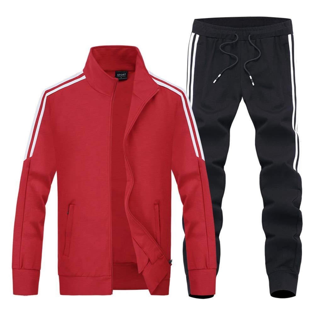 メンズトラックスーツ、カジュアルフルジップジョギングスウェットスーツ春と秋ストライプジムアクティブウェアロングパンツとジャケット2ピースセットスポーツウェア,Red,XXXXL XXXXL Red B07PNQBM76