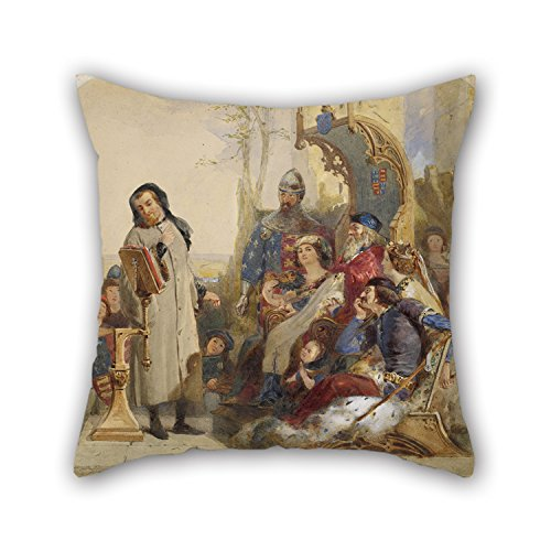 - Slimmingpiggy 18 X 18 Inches / 45 By 45 Cm Oil Painting Ford Madox Brown - Chaucer At The Court Of Edward III - Watercolour Version Throw Pillow Case,double Sides Is Fit For Home Office,monther,lov