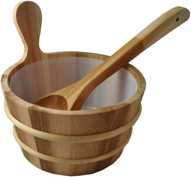 FREE SHIPPING! CEDAR SAUNA BUCKET WITH LINER AND DIPPER
