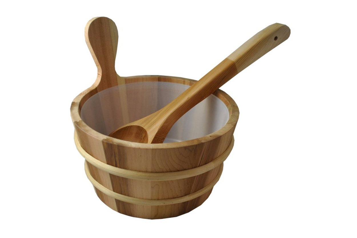 Northern Lights Group Cedar Sauna Bucket with Scoop Ladle & Liner by Northern Lights Group