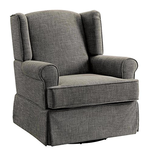 HOMES: Inside + Out IDF-RC6508GY Imogen Transitional 360 Glider and Rocker Chair, Grey