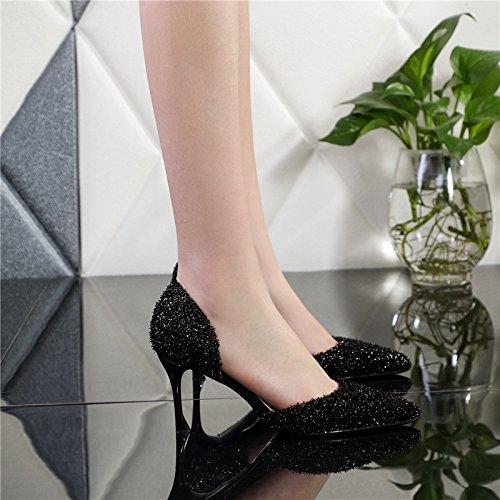À 2 SHOESHAOGE Fine À Pointe Femme Hauts Sandales UK2 Le Respirante Noire Chaussures Chaussures Light Avec Creux 33 EU34 Talons zrrwXqU7