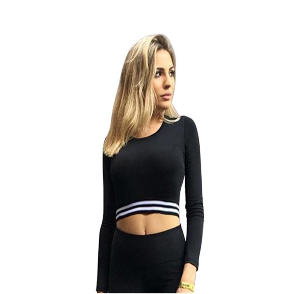 DEELIN Camisa Casual De Rayas Deportivas De Rayas Largas para Mujer Camisa De Fitness Slim Fit Slim Fit Negra: Amazon.es: Ropa y accesorios