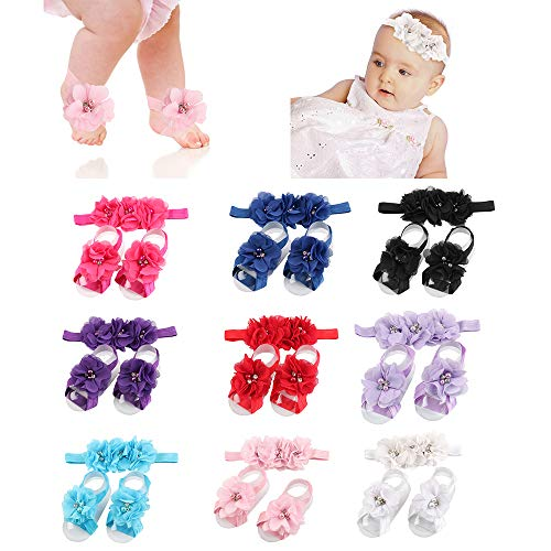 - 9 Colors Baby Barefoot Sandals And Headband Sets Soft stretch ribbon baby Decoration Hair Accessories shower gift For Toddler Girls