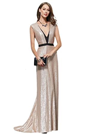Gold Sequins V-Neck Evening Dresses Formal Wedding Gowns Plus Size Prom Dresses
