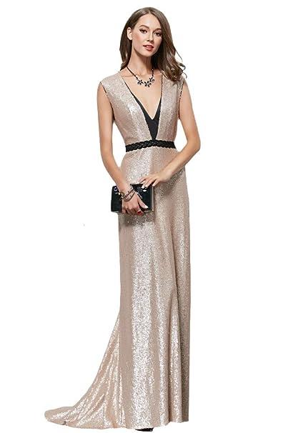 Special Bridal Gold Sequins V Neck Evening Dresses Formal Wedding