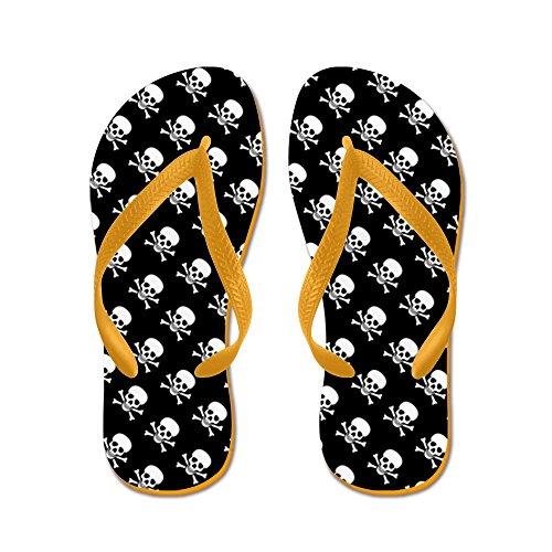 Ciondolo A Forma Di Teschio Con Ossa Incrociate - Infradito, Divertenti Sandali Infradito, Sandali Da Spiaggia Arancione