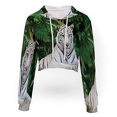 Women Teen Girls Pineapple Crop Sweatshirt Hoodie,Tiger,Sport Crop Top Sweatshir