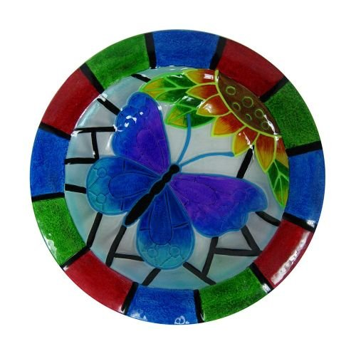 Alpine Glow In The Dark Glass Butterfly Birdbath, 18''