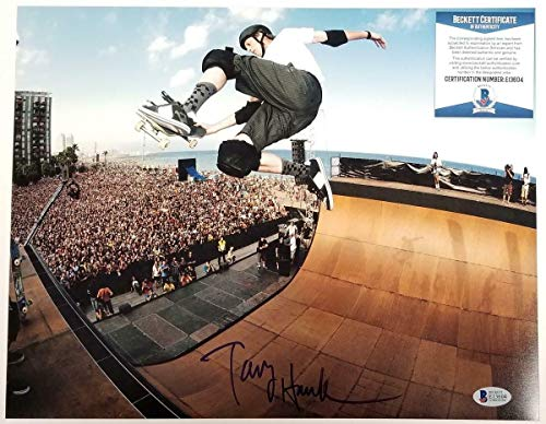 (TONY HAWK Signed 11x14 Photo Autograph Skateboard Legend ~ Beckett BAS COA - Beckett Authentication - Autographed Extreme Sports Photos)