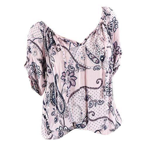 (Women's Short Sleeve Ruched Casual Summer V Neck Print Blouse Loose Shirt Tops Gogoodgo)