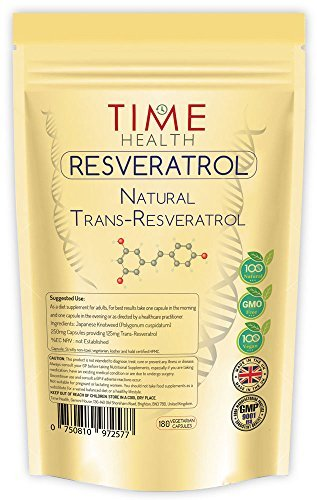 Trans Resveratrol - 180 Capsules - 3 Month Supply - Split Dosage for maximum benefits from Trans Resveratrol - UK Manufactured to GMP code of practice and ISO 9001 quality assurance by Time Health by Time Health