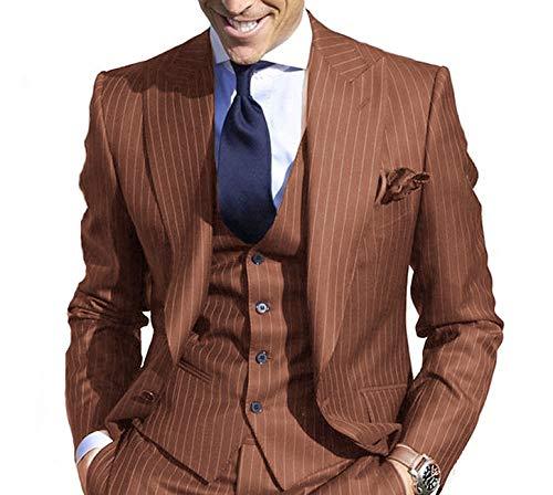 JYDress Men's Pinstripe Suit Slim Fit Stripe Peaked Lapel Jacket Vest Pants Sets Reddish Brown
