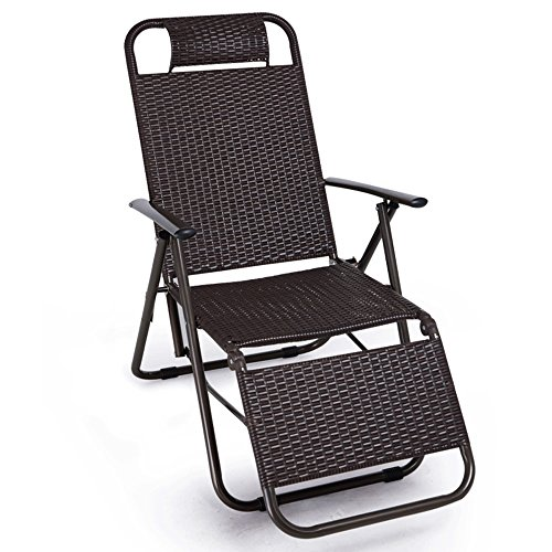 Tiao ZHAN Deck Chair Rattan Folding Chairs Office Lunch Break Chair Lounge Chair Camping Garden Balcony Sun Lounger Beach Chair Ergonomics High Load Bearing Safety Odorless Chair AA