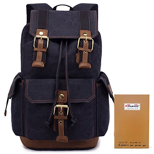 KAUKKO Vintage Casual Canvas and Leather Rucksack Backpack 2b215fa16ec
