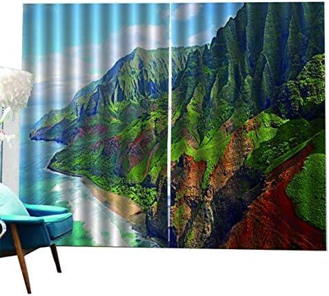 QinKingstore 高山川パターン印刷された遮光カーテン用リビングルーム寝室ホームホテル窓カーテン高精度