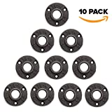 10 Pack 3/4'' Floor Flange Iron Pipe Floor Threaded Pipe Fitting Industrial Dark Gray Steampunk Vintage Retro Decor Furniture DIY Wall Plumbing by Brooklyn Pipe