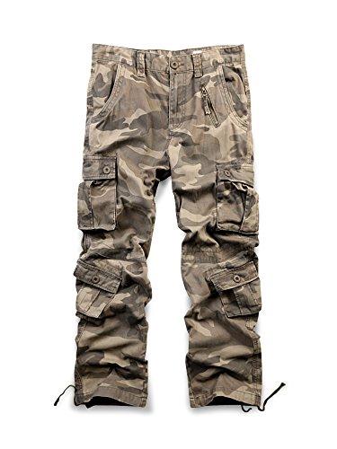 OCHENTA Men's Cotton 8 Pockets Casual Cargo Pants, Military Work Combat Trousers #3357 Camo 169 44 by OCHENTA