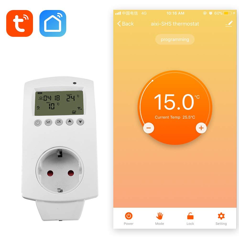 aixi-SHS Wireless Wi-Fi Plug termostato calefacció n elé ctrica Smart socket control de temperatura pantalla LED -  Alexa echo - TuyaSmart/Smart Life APP control