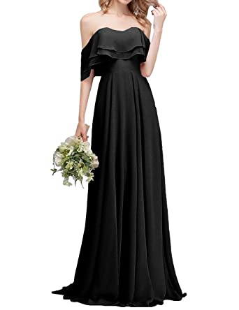 4792815cfd ModeC Strapless Chiffon Bridesmaid Dresses Long with Shoulder Ruffles  Wedding Party Gowns Black US 2