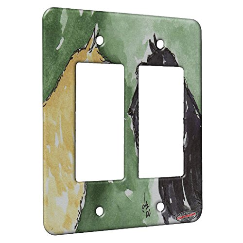 2 Gang Rocker Wall Plate - Scottie Greetings Scottish Terrier Dog Art by Denise Every