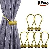 Melaluxe 6 Pack Magnetic Curtain Tiebacks, Decorative Curtain Holdbacks for Window Décor (Gold)
