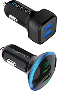 Maxboost 24W Dual USB Car Charger and Quick Charge 3.0 Car Charger for Smartphone