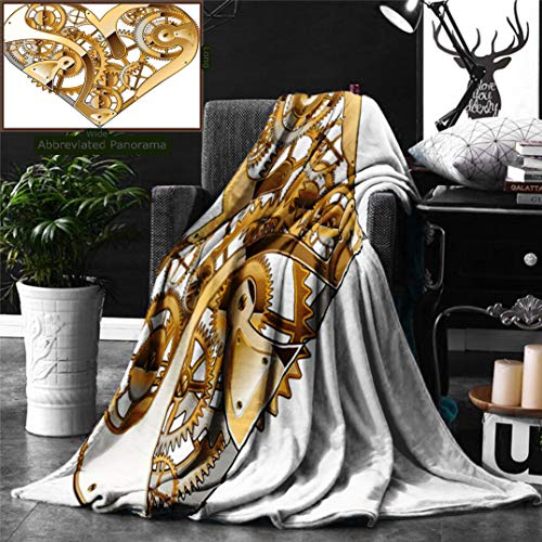 Ralahome Unique Custom Double Sides Print Flannel Blankets Industrial Decor Mechanical Heart Physical Bodies Complex Structure Love Techno Super Soft Blanketry Bed Couch, Twin Size 80 x 60 Inches ()