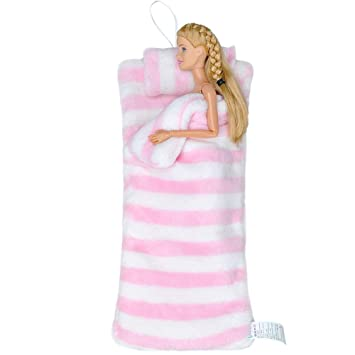 E-TING Handmade Fluff Sleeping Bag for Girl Doll Bedroom Accessories (Pink  and White Stripes)