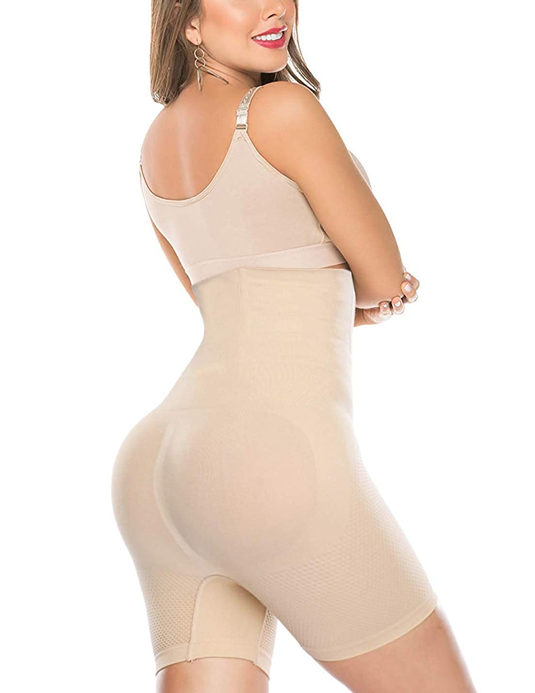Beige Larry&Marry Women High Waist Cincher Girdle Belly Slimmer Trainer Black Shapewear Butt Lifter