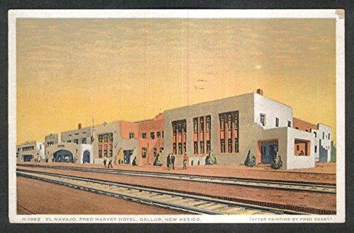 El Navajo Fred Harvey Hotel Gallup NM postcard 1931 - 1931 Postcard