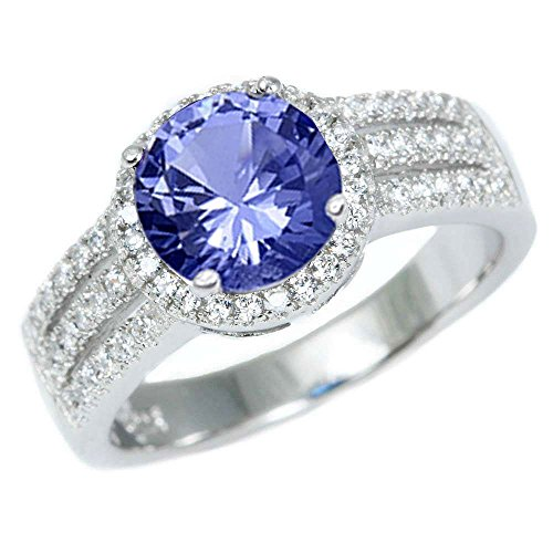 Sterling Silver Halo Simulated Tanzanite Gemstone Ring Sizes 9 - Simulated Diamond Gemstone Ring