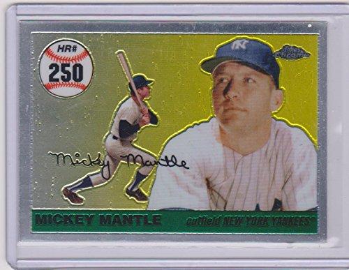 2007 Topps Chrome Mickey Mantle - 2007 Topps Chrome Mickey Mantle Yankees Insert Baseball Card #MHR250