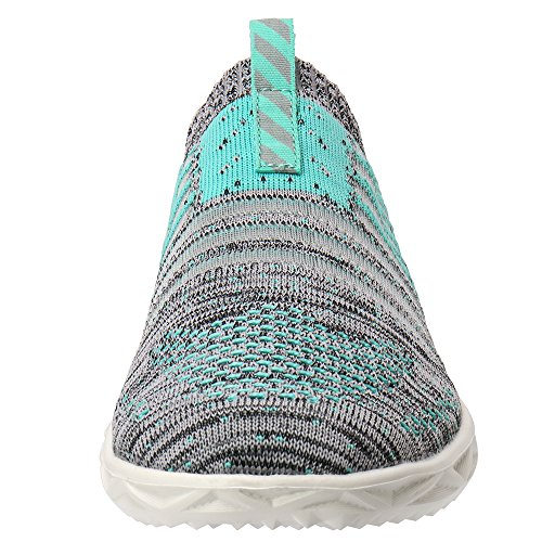 ALEADER Womens Hydro Lite-Knit Slip-On Water Shoes Green/Gray 79gpr