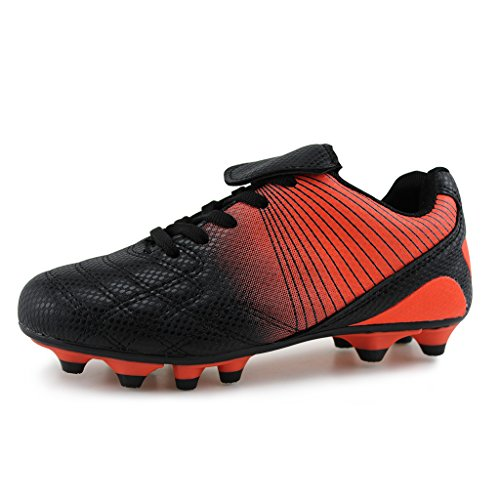 Hawkwell Athletic Outdoor/Indoor Comfortable Soccer Shoes(Toddler/Little Kid/Big Kid) (10 M US Toddler, Black/Orange)