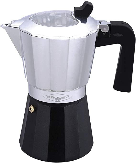 Oroley - Inducción Cafetera Italiana con Base de Acero para Todo Tipo de Cocinas, 12 Tazas: Amazon.es: Hogar