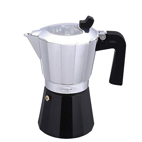 Oroley - Inducción Cafetera Italiana con Base de Acero Inoxidable para Todo Tipo de Cocinas, 3/6 Tazas