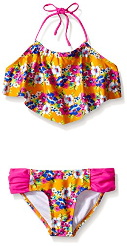 Raisins Girls Big Girls' High Tide Garden Pacifica Bikini Swimsuit, Mango, 16