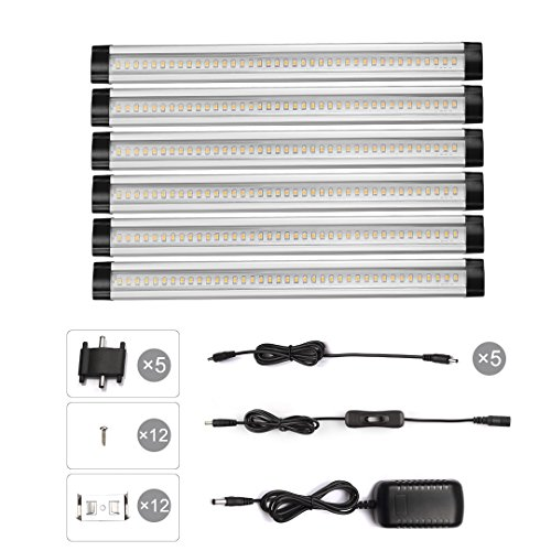 LED Under Cabinet Lighting Kits, S&G Closet Panel Lights (Total 24W/1800 Lumens /12V DC/3000K Warm White) Switch Control Under Counter Lights, All Accessories Included-6 Panels