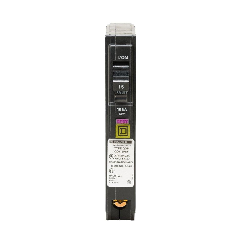 Circuit Breaker QO115PDFC Square D by Schneider Electric QO QO115PDF Plug-In Mount 15 Amp Single-Pole Dual Function CAFCI and GFCI
