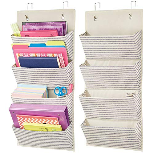 (mDesign Soft Fabric Over Door Hanging Home Office Storage Organizer, 4 Large Cascading Pockets - Holds Office Supplies, Planners, File Folders, Notebooks - Striped Print - 2 Pack - Natural/Cobalt Blue)
