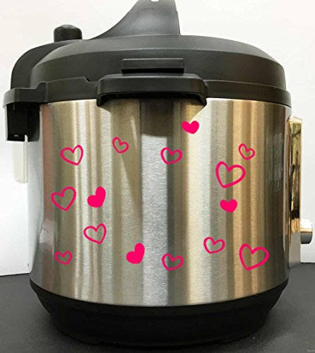Pressure Decal - Cute Hearts Art Decal Sticker - Pink Vinyl Decal Sticker for Instant Pot Instapot Pressure Cooker